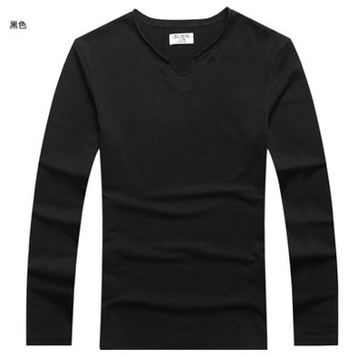 New Autumn Wear Men Small V Collar Elasticed Long Sleeve T-shirt
