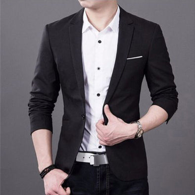 New Blazer Men Korean Slim Fit Fashion Cotton Blazers Suits Jacket Black Blue - BC&ACI