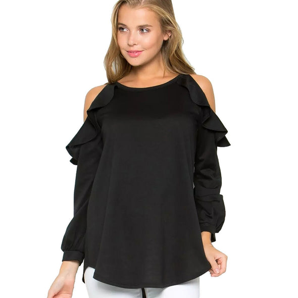 New Fashion O Neck Women T-shirt Casual Off Shoulder Ruffles - BC&ACI