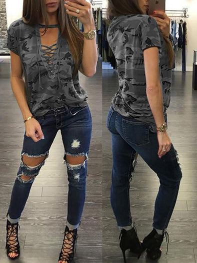 New Fashion Women Ladies Short Sleeve Camouflage Loose Blouse Summer Lace Up Casual - BC&ACI