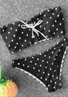 New Sexy Bandeau Bikini Set Polka Dot Swimwear Tie Sides Swimsuit Paded Bathing Suit