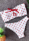 Sexy  Bandeau Bikini Set Polka Dot Swimwear Tie Sides Swimsuit Paded Bathing Suit - BC&ACI