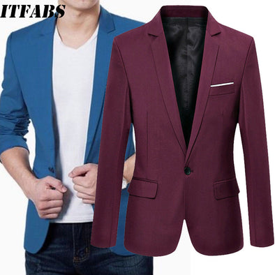 New Stylish Men's Smart Casual Blazer Slim Fitness Formal One Button - BC&ACI