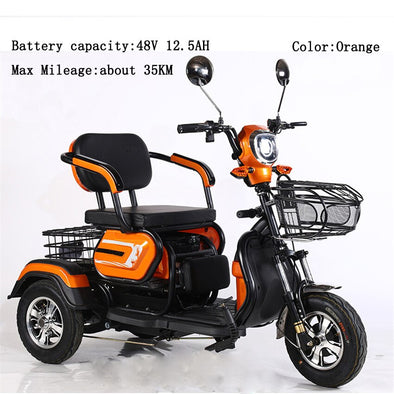 New Three-person Electric Motorcycle Older Electric Scooter Wide Tire Three Wheel - BC&ACI