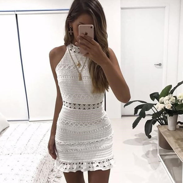 New hollow out lace dress women Elegant sleeveless cotton white dress summer chic party