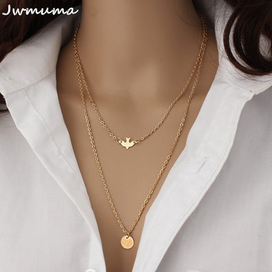 New simple wild Peace Dove Double Necklace Women's metal clavicle chain alloy jewelry - BC&ACI
