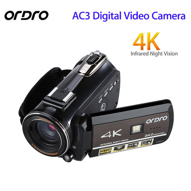 ORDRO Updated AC3 4K  Hot Shoe WIFI Digital Camera HDMI 24MP Infrared Night Vision