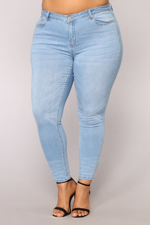 PLUS SIZE 5XL 6XL 7XL Jeans  for Women Skinny Pencil Blue Denim - BC&ACI