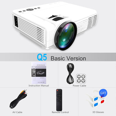 New POWERFUL Q5 LED Projector 720P Full-HD Mini Projector 800*600 Wireless Sync - BC&ACI