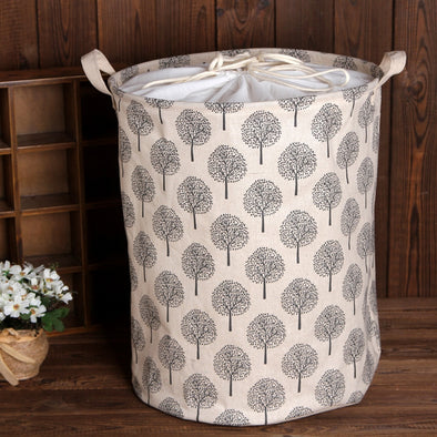 Panier De Rangement Cesta Cotton Linen Storage Bucket Laundry Basket Hamper Foldable - BC&ACI