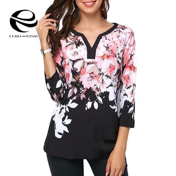 Plus Size 5XL Women Tops and Blouse 2019 Spring Summer Top Flower Print V-neck Blouses - BC&ACI