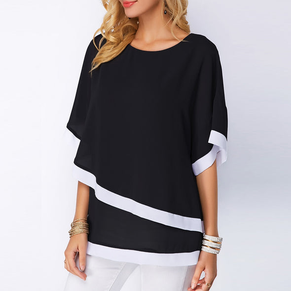 Plus Size Patchwork Batwing Sleeve Women's Blouse Chiffon Casual Irregular Spring - BC&ACI