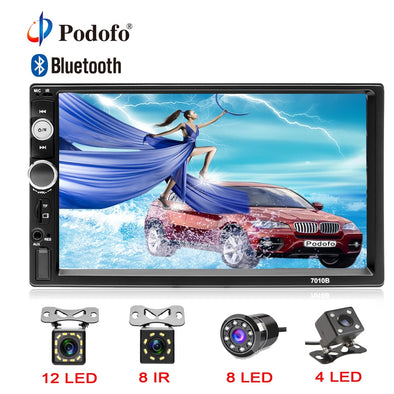 "Podofo 2din Autoradio 7"" HD Touch Screen Digital Display Bluetooth Multimedia MP5 Player"