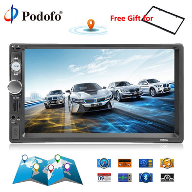 "Podofo 2din Car Radio 7"" GPS Navigation audio Radio Bluetooth Autoradio MP5 Player - BC&ACI"