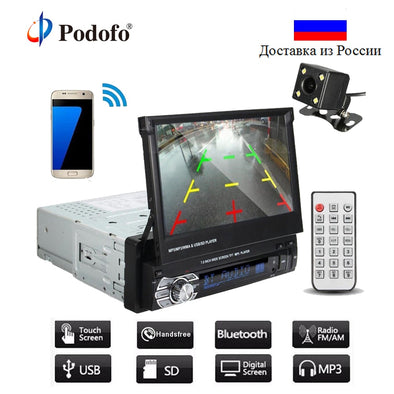 "Podofo Car Stereo Audio Radio Bluetooth 1DIN 7"" HD Retractable Touch Screen Monitor - BC&ACI"