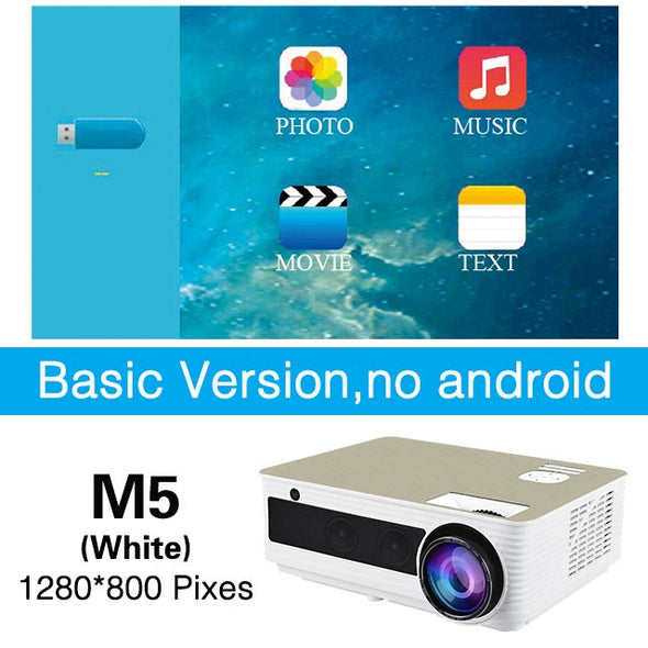 Poner Saund M5 Full HD LED Projector Optional Android 6.0 Projetor 4500 Lumens 1080P - BC&ACI