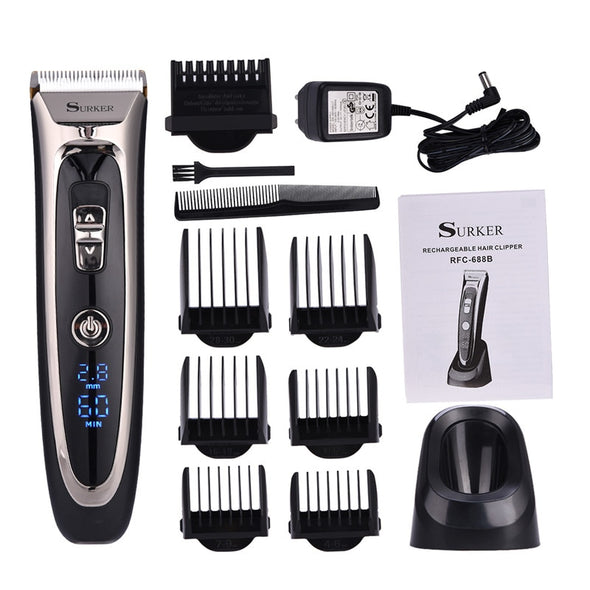 Professional Digital Hair Trimmer Rechargeable Electric Hair Clipper Men's Cordless - BC&ACI