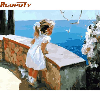 New RUOPOTY Frame Little Girl DIY Painting By Numbers Acrylic Paint - BC&ACI