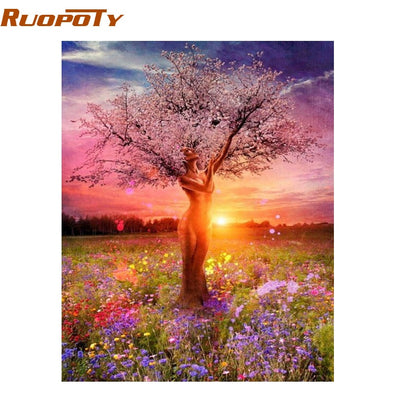 New RUOPOTY  DIY Painting By Numbers Sexy Trees Landscape - BC&ACI