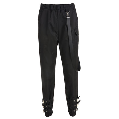 Rapwriter Punk Style Adjustable Buckle Side Big Pocket Elastic High Waist Pencil Pants women - BC&ACI