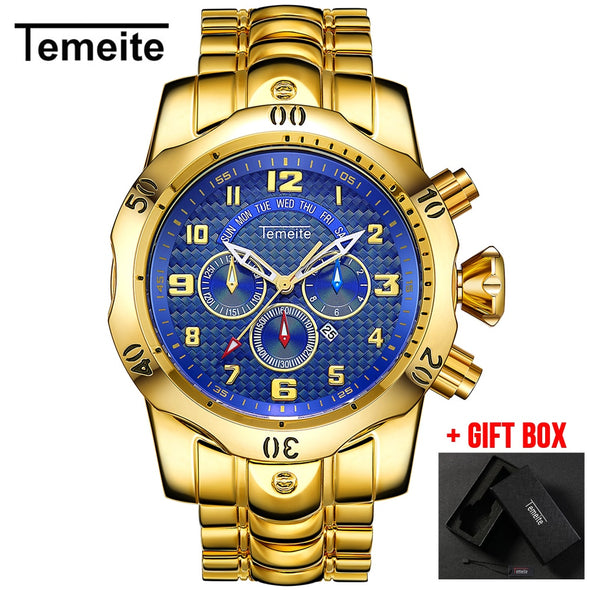 Relogio Dourado  Masculino de luxo Quartz Watch TEMEITE Watches Men - BC&ACI