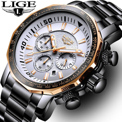 Relogio LIGE Luxury Sport Men Watches Waterproof Outdoor Big Dial Quartz Chronograph - BC&ACI