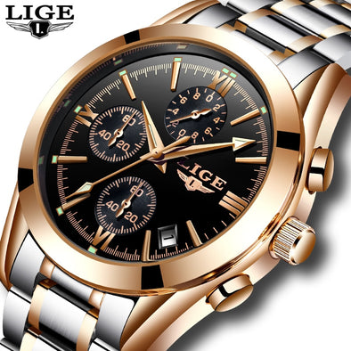 Relogio Masculion LIGE Men Watches Top Luxury Brand Military Sport Watch Mens Quartz - BC&ACI