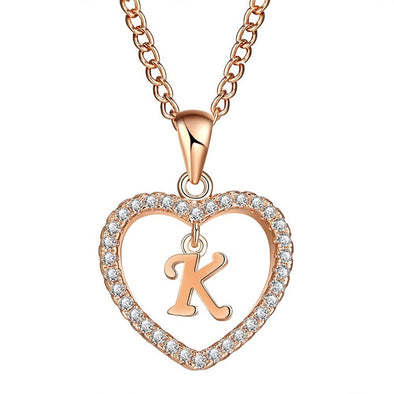 New Gold Color Cubic Zirconia Love Heart Crystal Pendant - BC&ACI