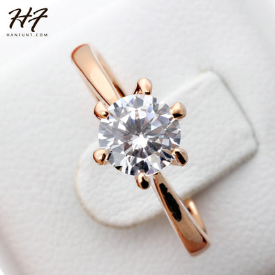 Rose Gold Color Classic Simple Design 6 Prong Sparkling Solitaire 1ct Zirconia  Forever Wedding Ring - BC&ACI