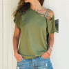 S-5XL Women Skew Neck Irregular Criss Cross Blouse Patchwork Solid Tops Blusa