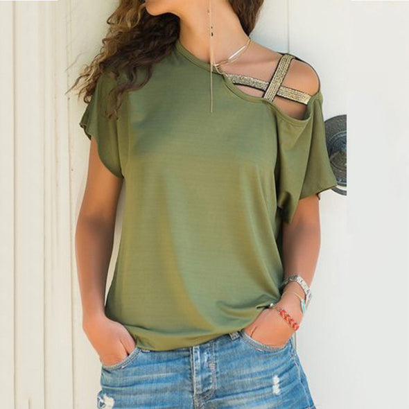 S-5XL Women Skew Neck Irregular Criss Cross Blouse Patchwork Solid Tops Blusa - BC&ACI