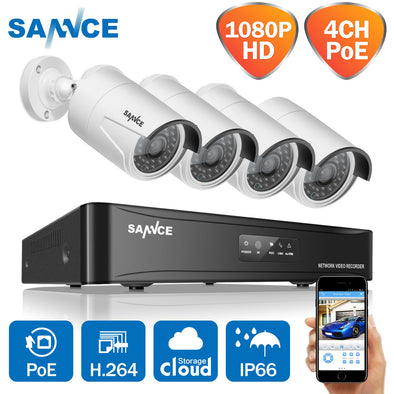 SANNCE 1080P POE video surveillance kit 4CH NVR cctv camera system