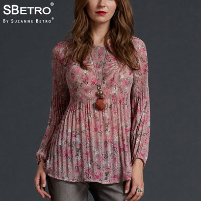 SBetro by Suzanne Betro Floral Print Chiffon Blouse Crew Neck Pleated Balloon Lantern Long Sleeve Tunic Women Tops And Blouses