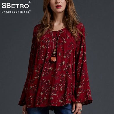 SBetro by Suzanne Betro Lace Floral Print Top Shirts Crew neck Eyelet Long Bell Sleeve blouses women - BC&ACI