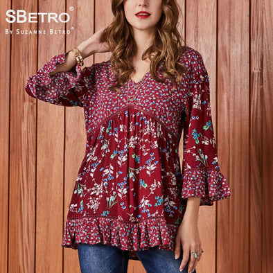 SBetro by Suzanne Betro Lace Print Blouse Modern Lady V-Neck Twin Mixed 3/4 Bell Sleeve