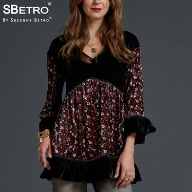 SBetro by Suzanne Betro Velvet Blouse Women Tops Lace V-Neck Print 3/4 Bell Sleeve