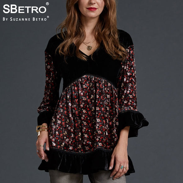 SBetro by Suzanne Betro Velvet Blouse Women Tops Lace V-Neck Print 3/4 Bell Sleeve - BC&ACI