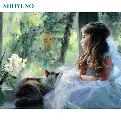 SDOYUNO Frame DIY Painting By Numbers Kits Girls Figure Painting Modern Wall Art