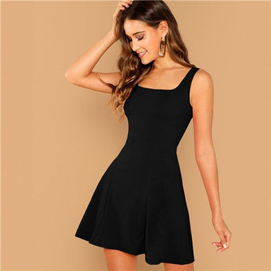 SHEIN Black Fit And Flare Solid Dress Elegant Straps Sleeveless Plain A Line Dresses Women - BC&ACI