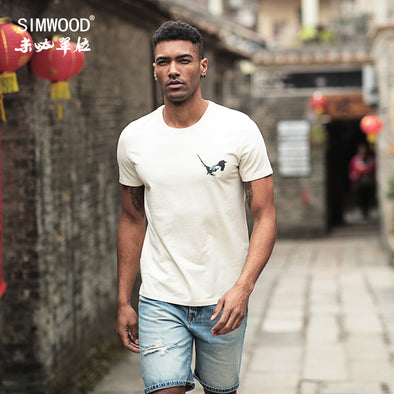 SIMWOOD 2019 Summer Chinese Painting T Shirt Men Birds Print Fashion Tops Street - BC&ACI