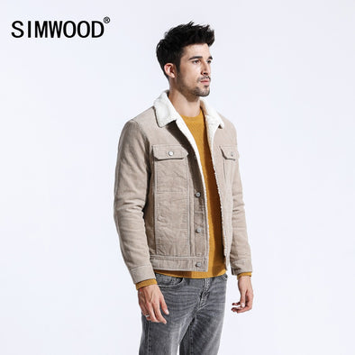 New SIMWOOD Men Jackets Casual Thick Warm Faux Shearling-lined - BC&ACI