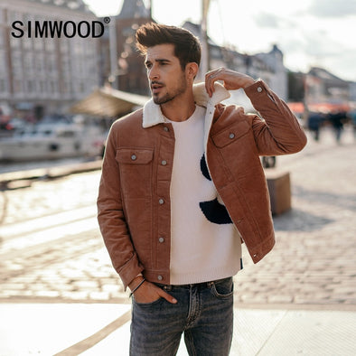 SIMWOOD New 2018 Winter Men Jackets Fashion Casual Thick Warm Faux Shearling-lined - BC&ACI