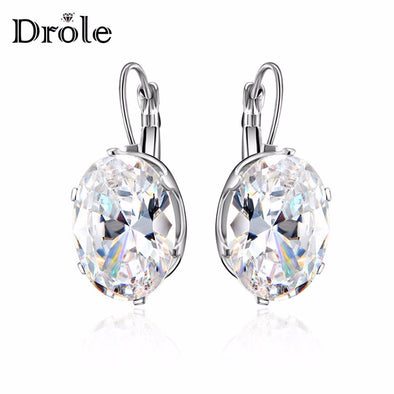Silver Crystal Cubic Zircon Big Stone Drop Earrings for Women Fashion