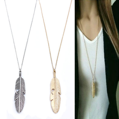 New Simple Classic pendant Feather Necklace Long Statement Jewelry women - BC&ACI