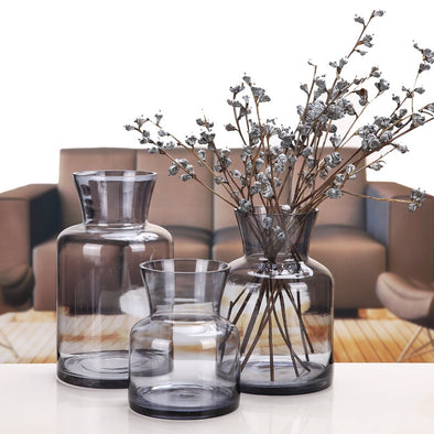 Simple Gray Rose Hydroponics Transparent Colored Glass Vase For Home