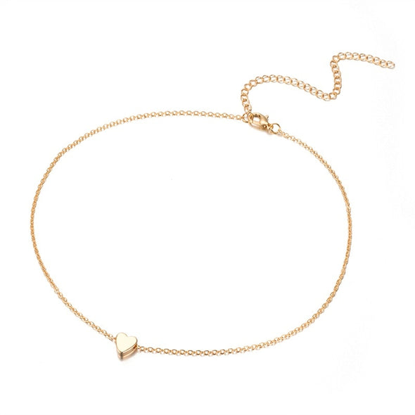 New Small heart choker Necklace for women gold silver chain - BC&ACI