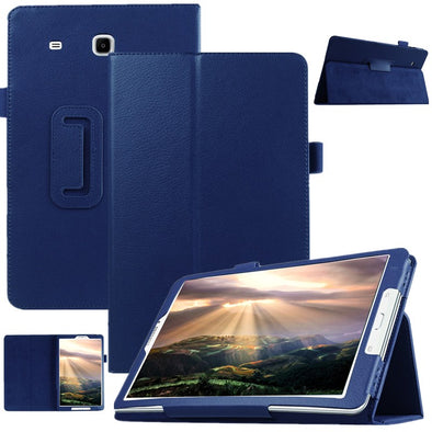 "Smart Slim Litchi Pattern Cover For Samsung Galaxy Tab E 9.6"" T560 T561 Tablet PU Leather Flip Stand Protective Case+Film+Pen"