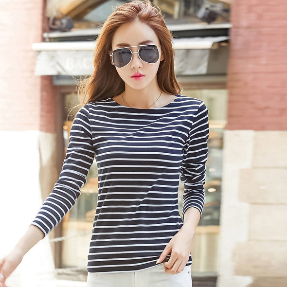 Soperwillton Cotton T-shirt Women 2019 New Autumn Long Sleeve O-Neck Striped Female