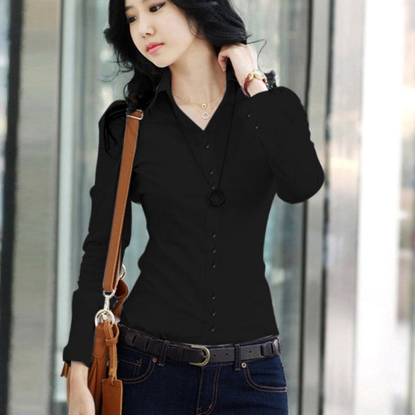 Spring Autumn Women Career White Womens Tops And Blouses Plus Size Female Long-sleeve