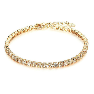 StoneFans CZ Crystal Tennis Bracelet Zircon Bracelet Bangle Chains Crystal Gold Strand Female - BC&ACI